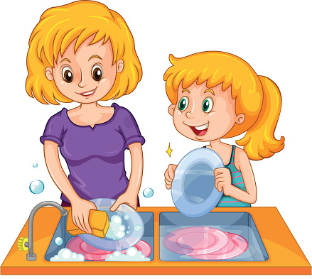 Girl washing dishes clipart.