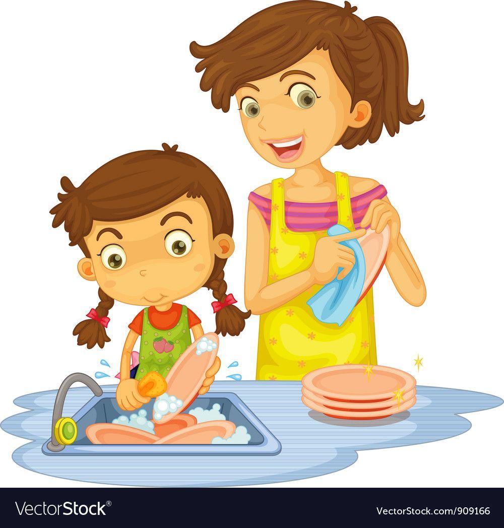 Washing dishes Royalty Free Vector Image.