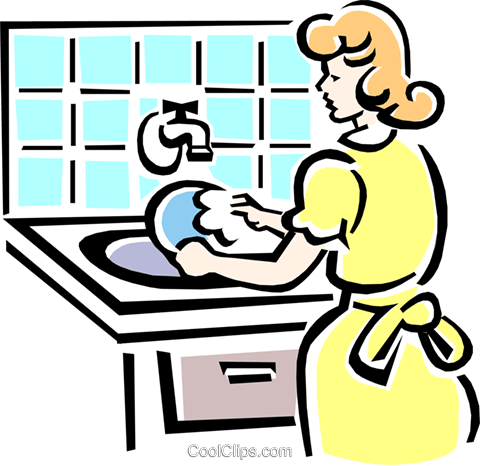 washing dishes Royalty Free Vector Clip Art illustration.