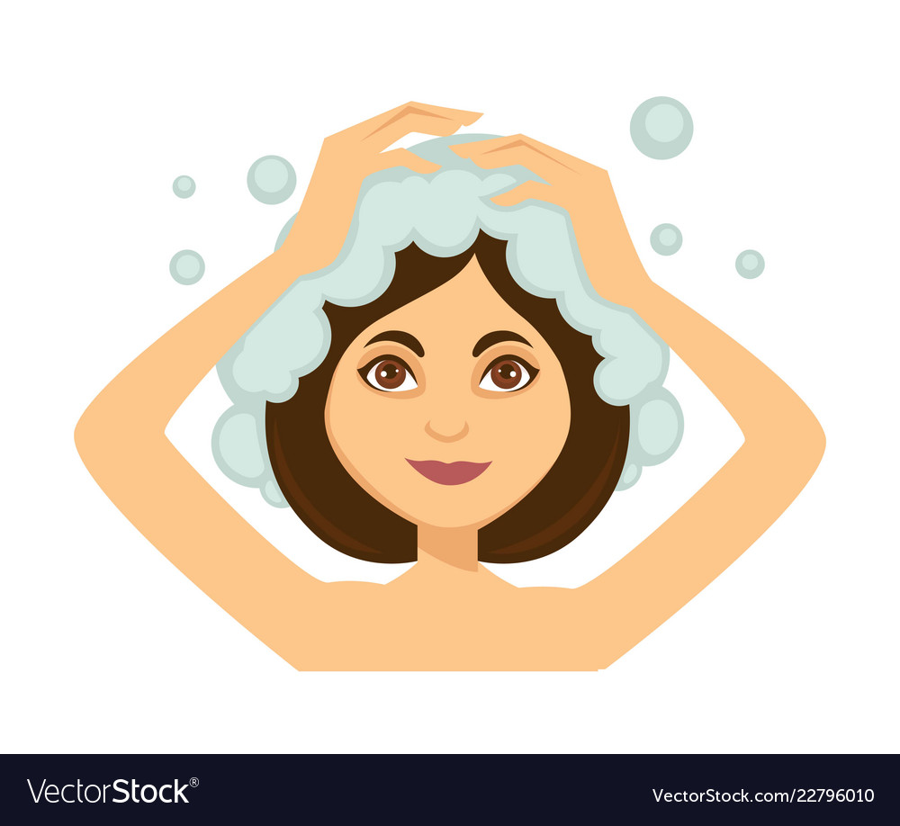 Young woman washing her hair and taking shower.