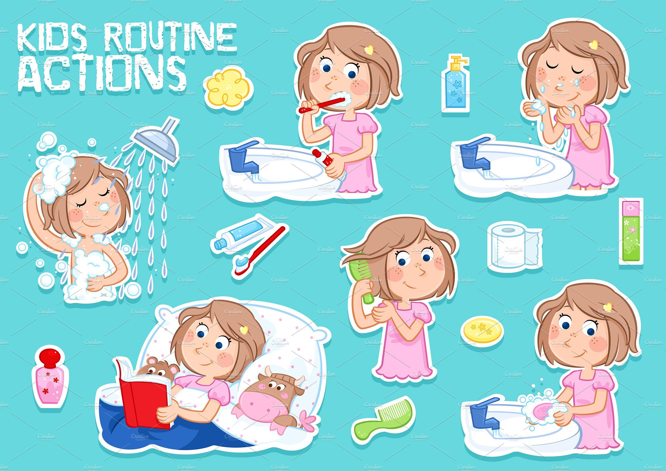Daily routine actions #story#combing#reading#bedtime.
