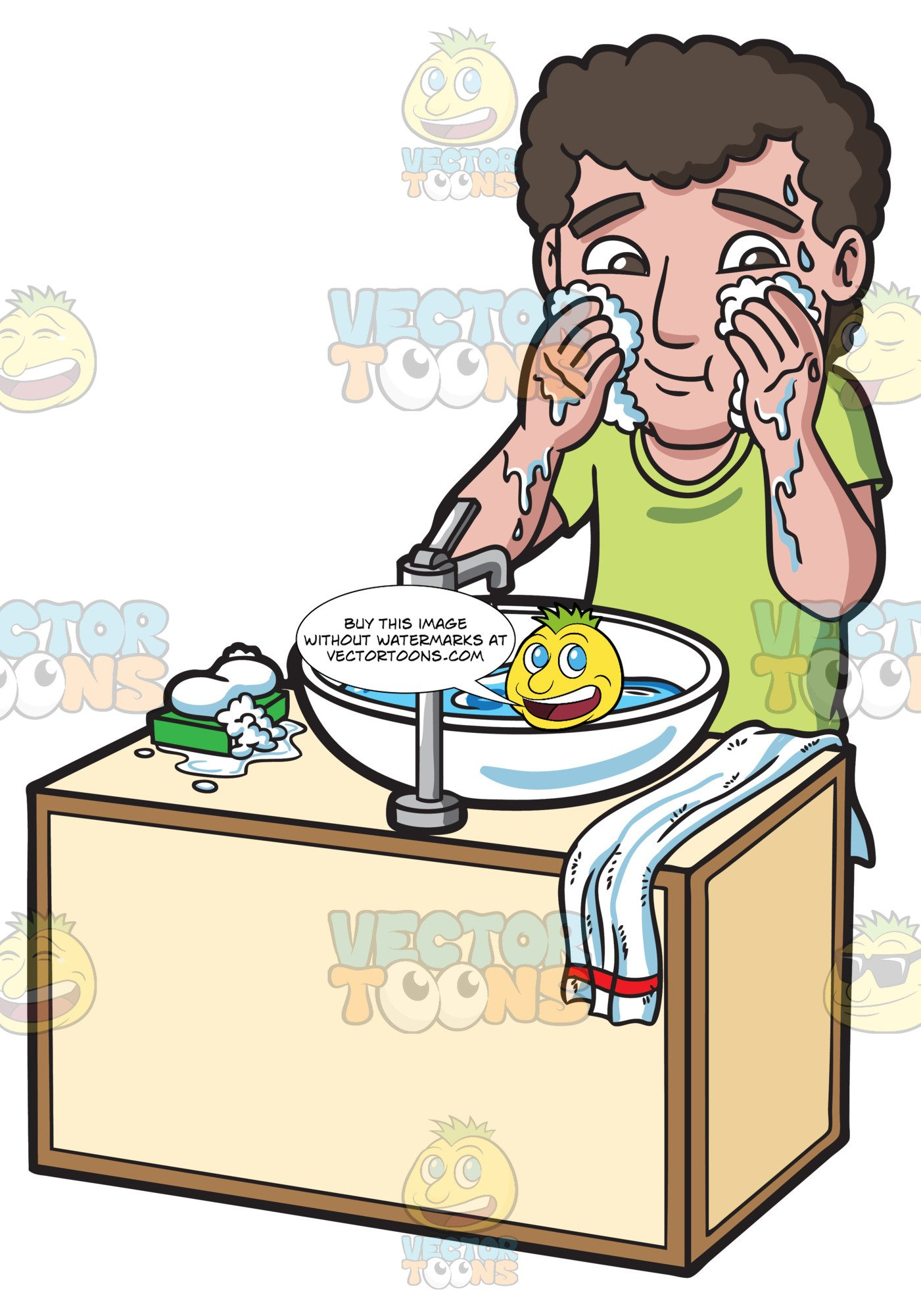 A Man Washing And Cleaning His Face With Soap And Water.