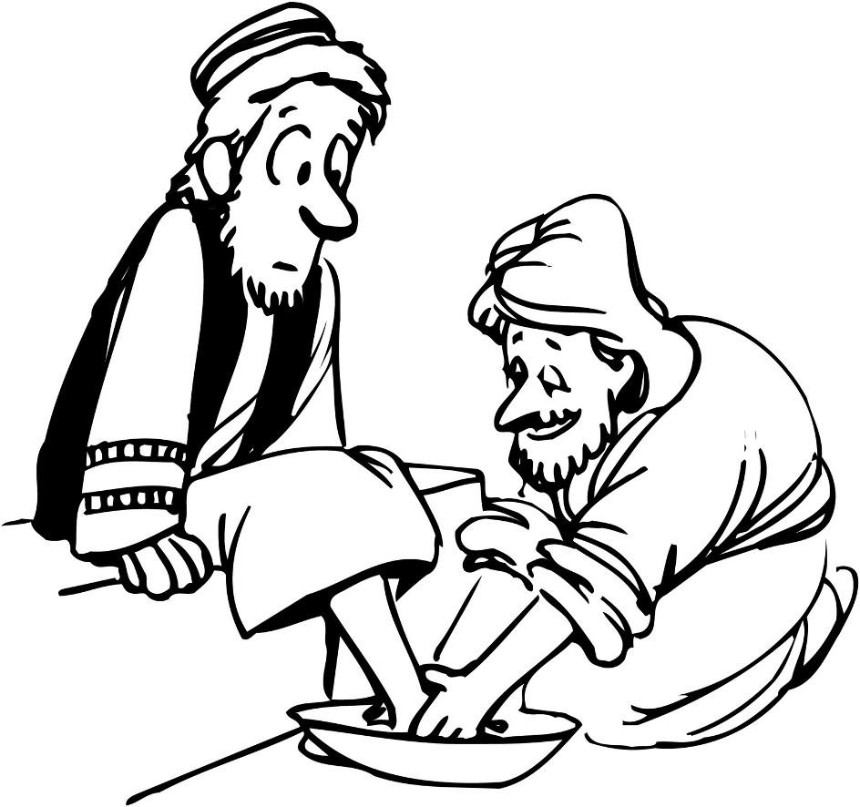 Jesus Washing Feet Coloring Page.