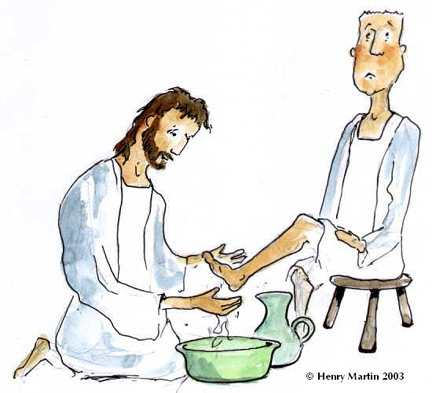Jesus washes the disciples feet clipart.