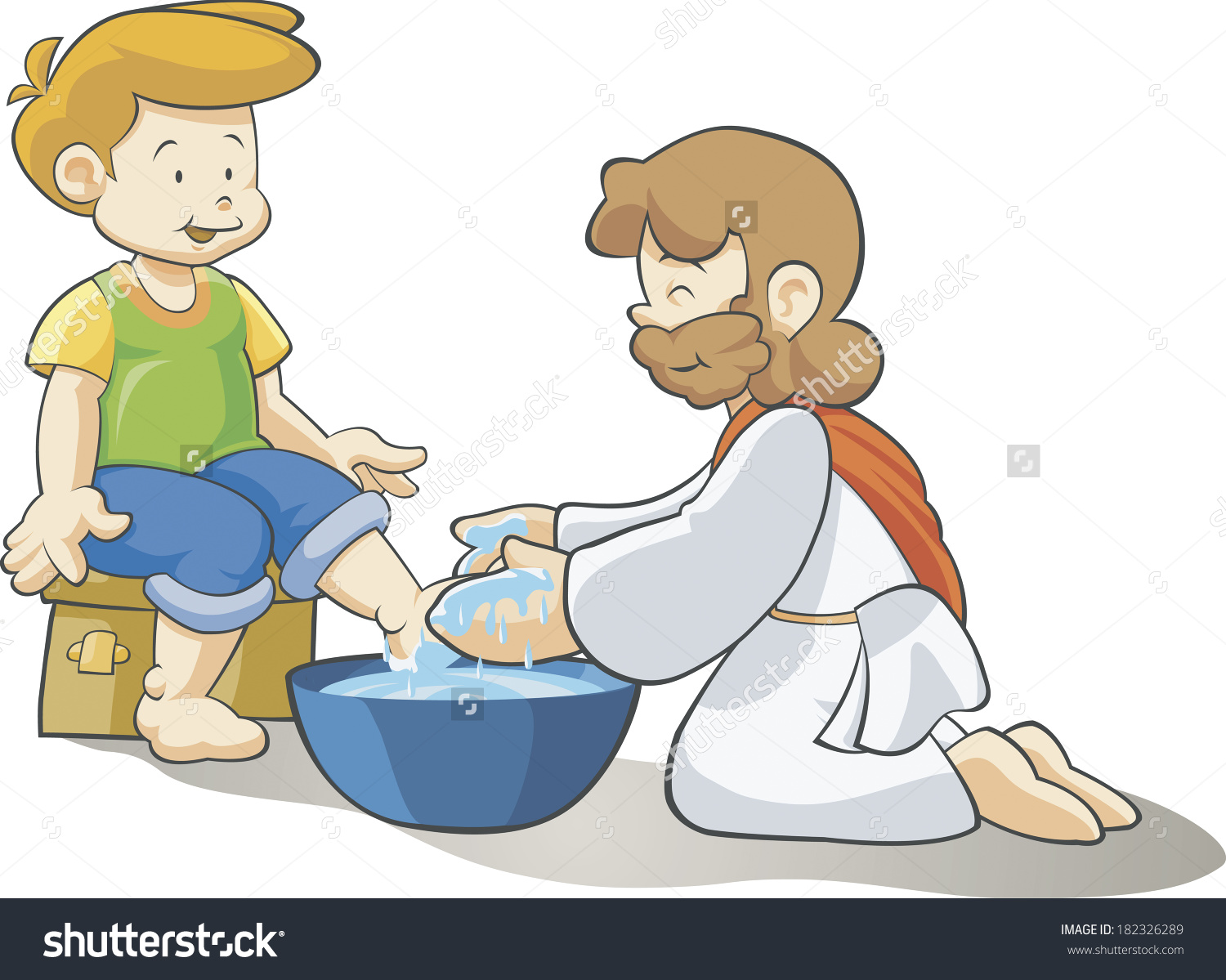 Jesus washing feet clipart.