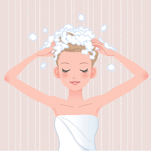 Girl Washing Hair Clipart.