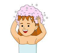 Girl Washing Hair Clipart.