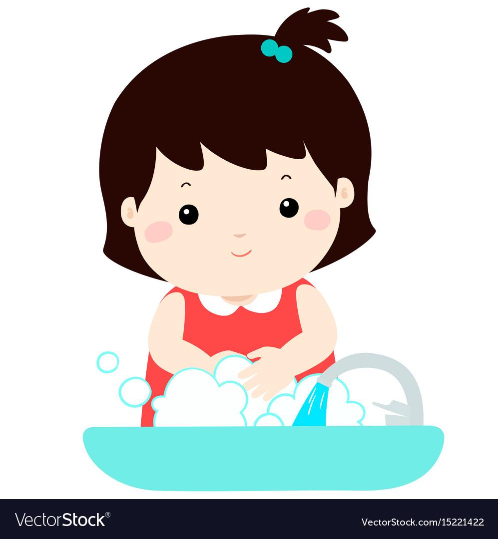 Cute girl washing hands.