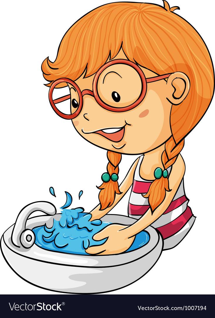 Girl washing hands.