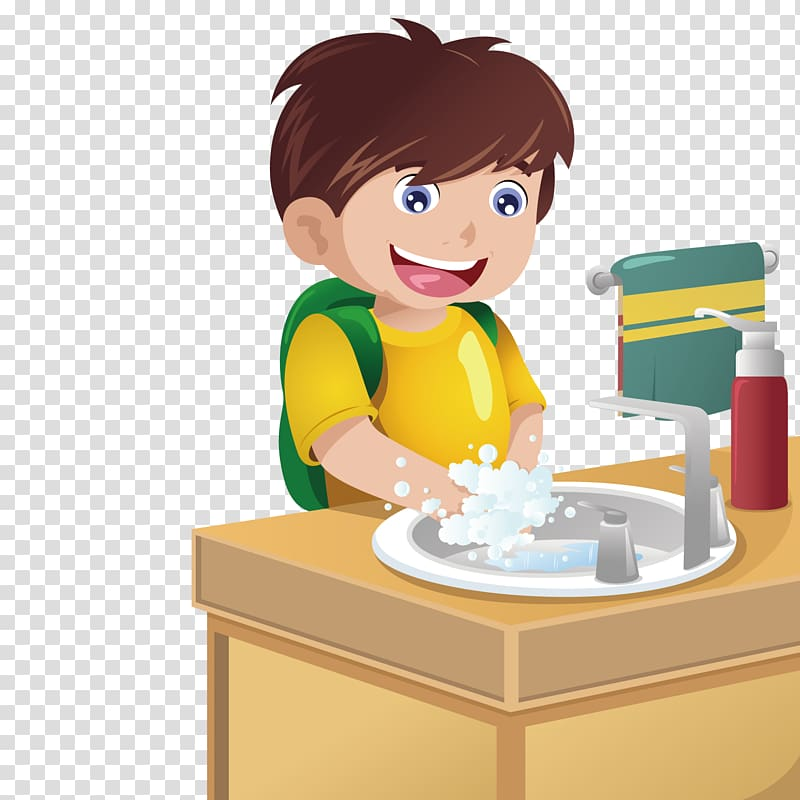 Toddler boy washing hands illustration, Hand washing.