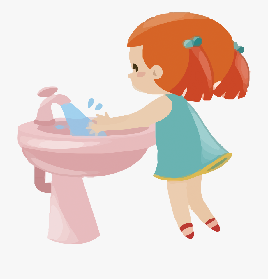 Clipart Girl Washing Hands.