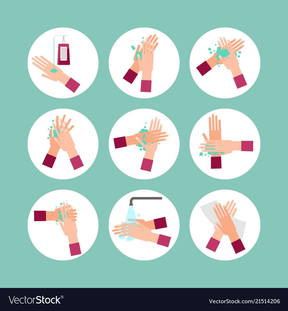 Washing hands scheme steps set.