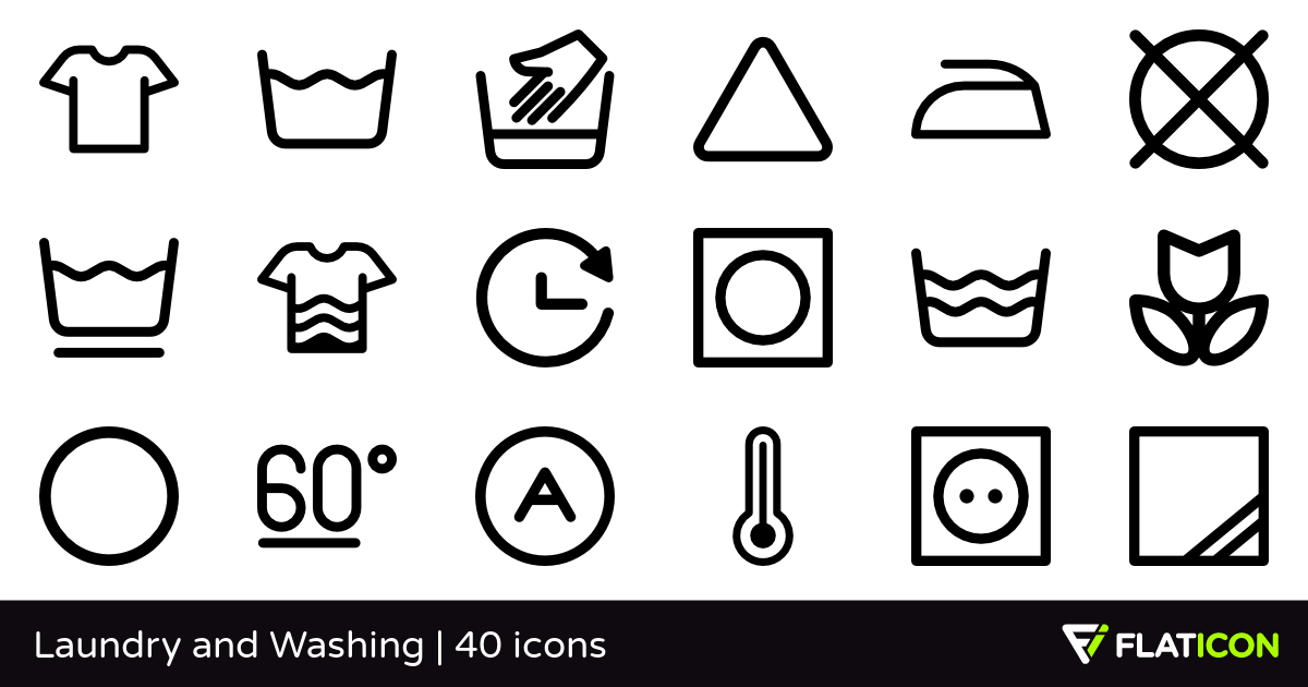 Laundry and Washing 40 free icons (SVG, EPS, PSD, PNG files).