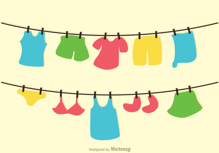 Clothes On Washing Line Vector.