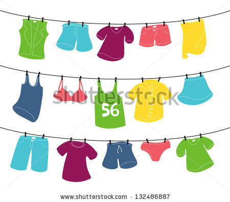 Various Clothes On Washing Line Stock Vector 132486884.