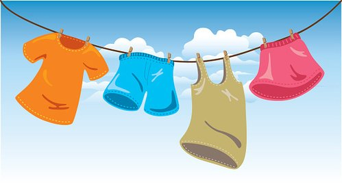 hanging clothes on washing line Clipart Image.
