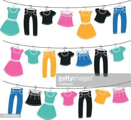 Clothes on washing line Clipart Image.