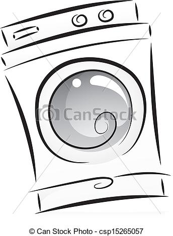 Clipart Vector of Washing Machine in Black and White.