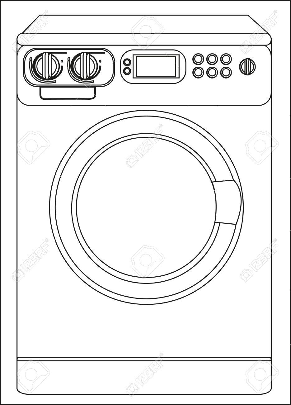 Illustration Of A Washing Machine, Isolated On White Background.
