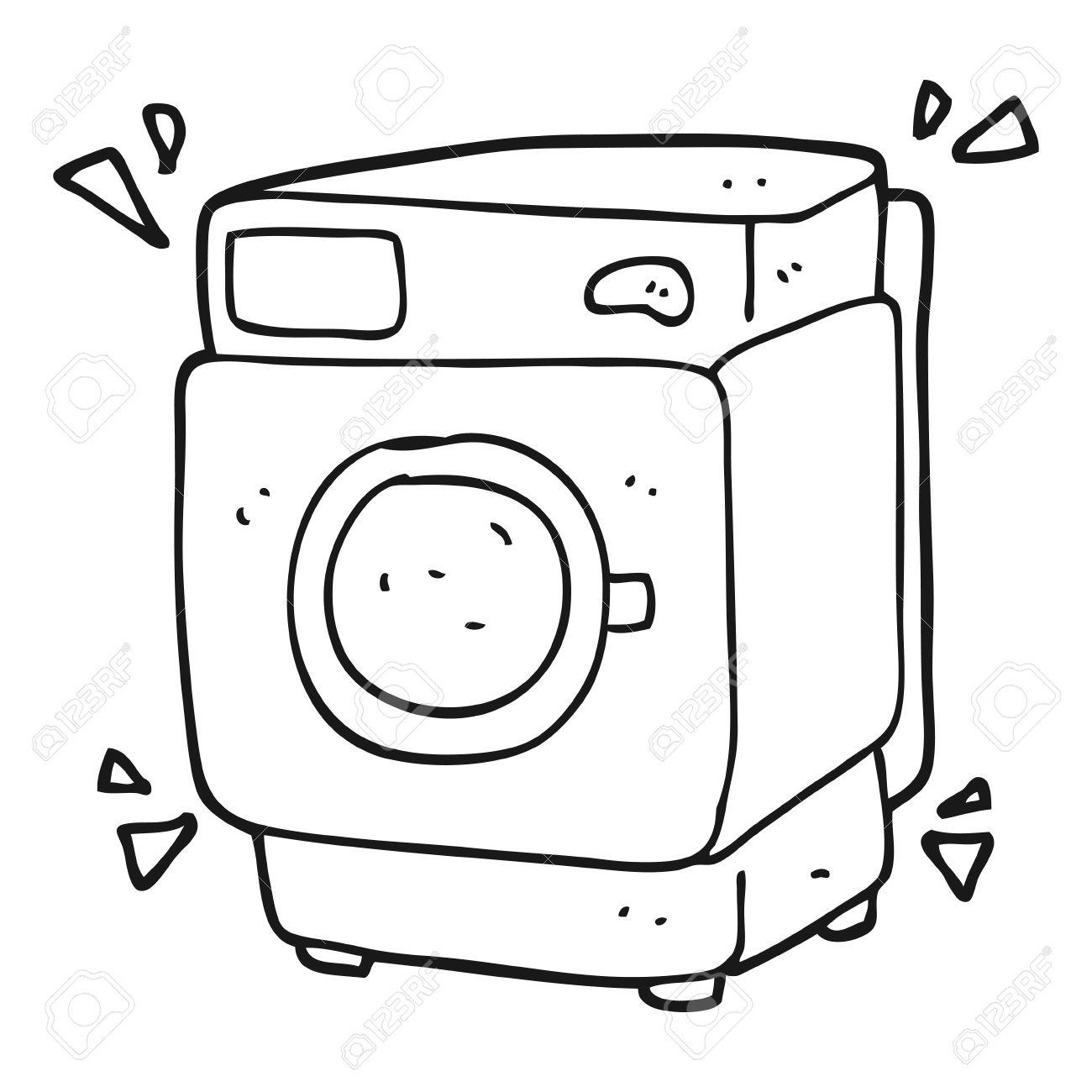 Freehand Drawn Black And White Cartoon Rumbling Washing Machine.