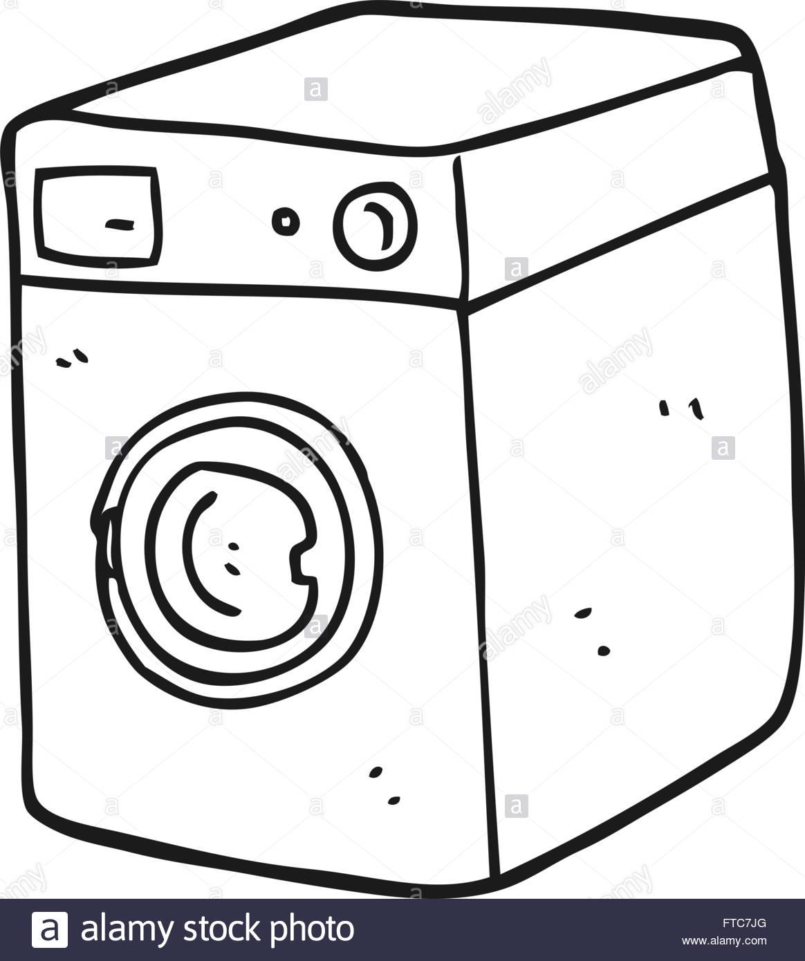 freehand drawn black and white cartoon washing machine Stock.