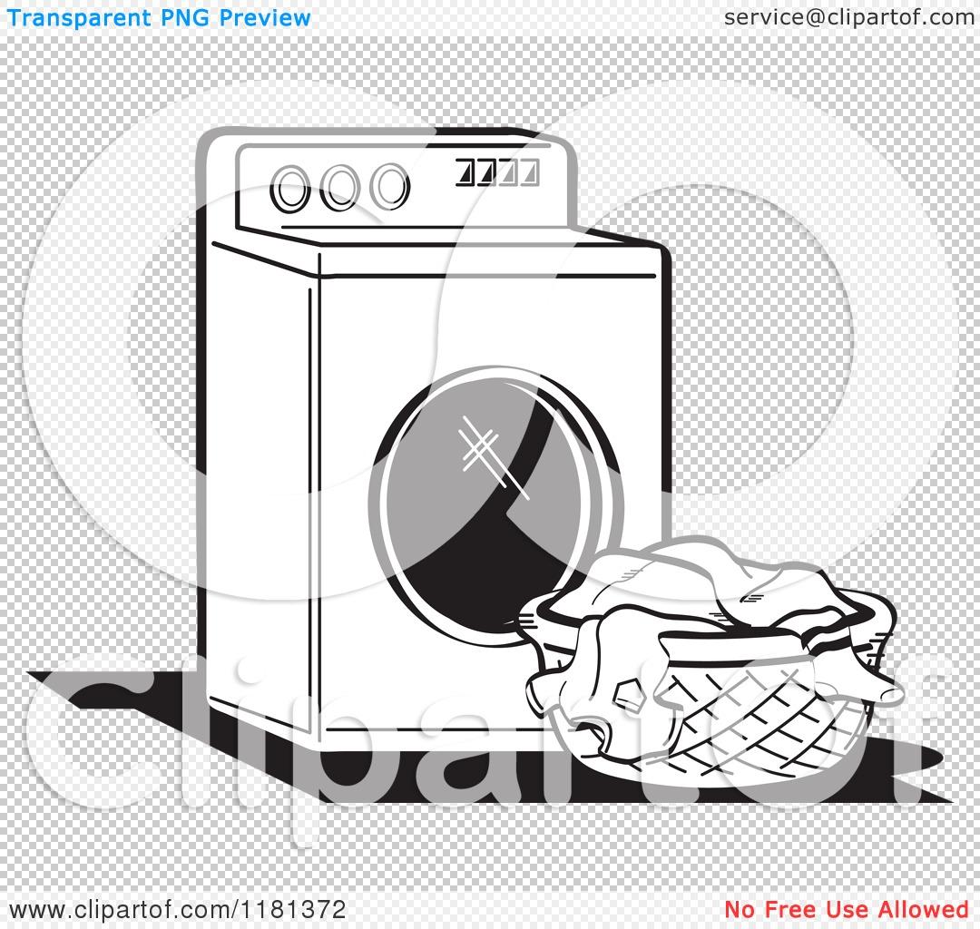 Cartoon of a Black and White Retro Washing Machine and Laundry.