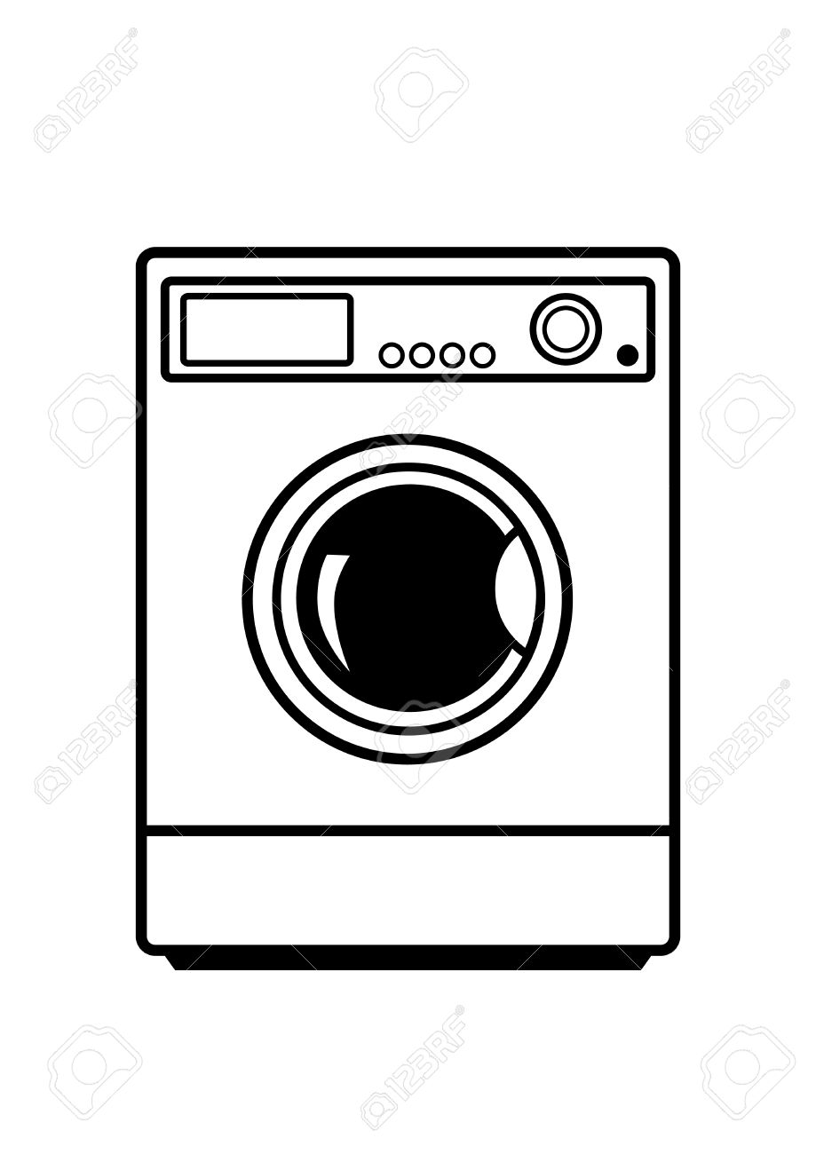 Washing Machine On White Background Royalty Free Cliparts, Vectors.