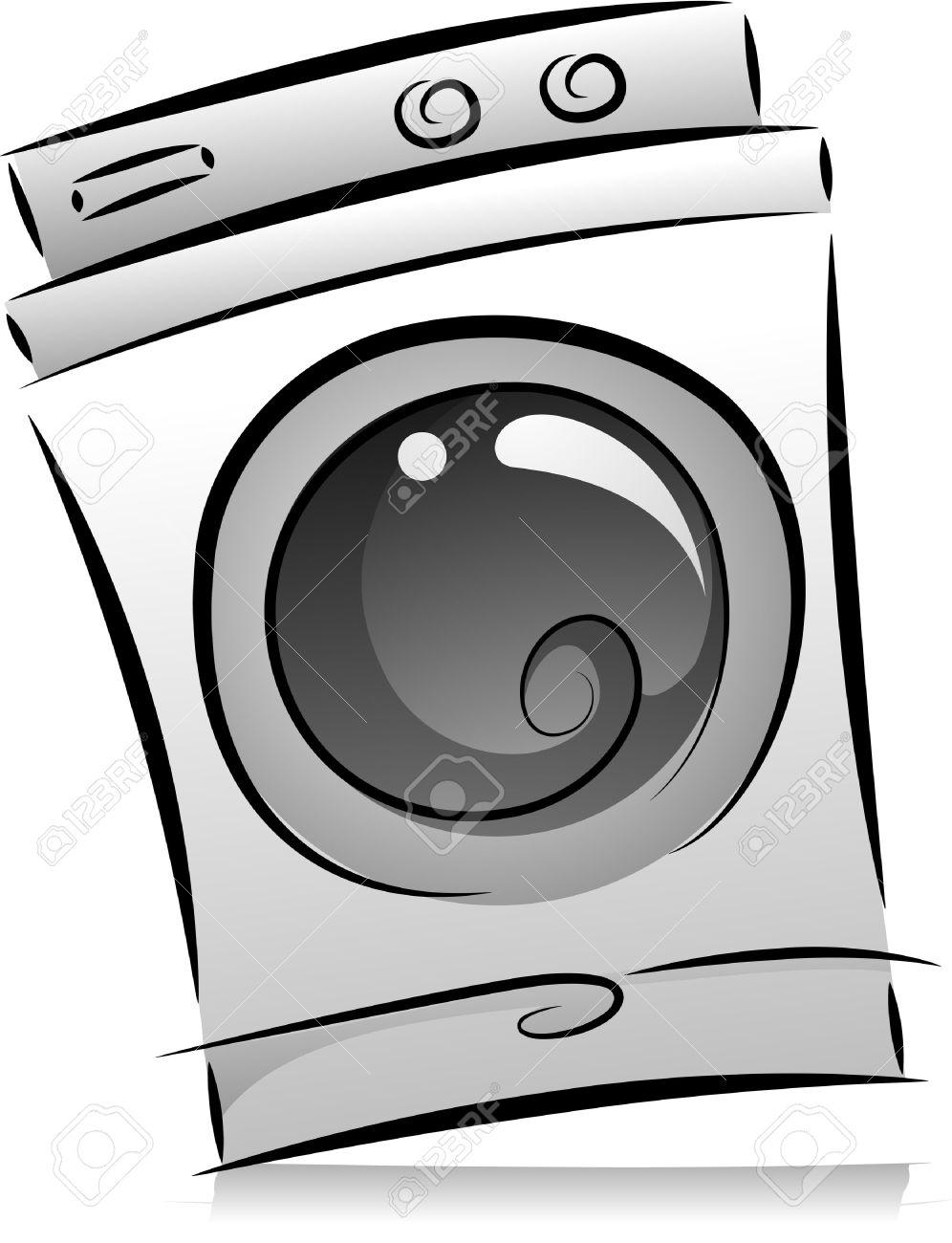 Illustration Of Washing Machine In Black And White Stock Photo.