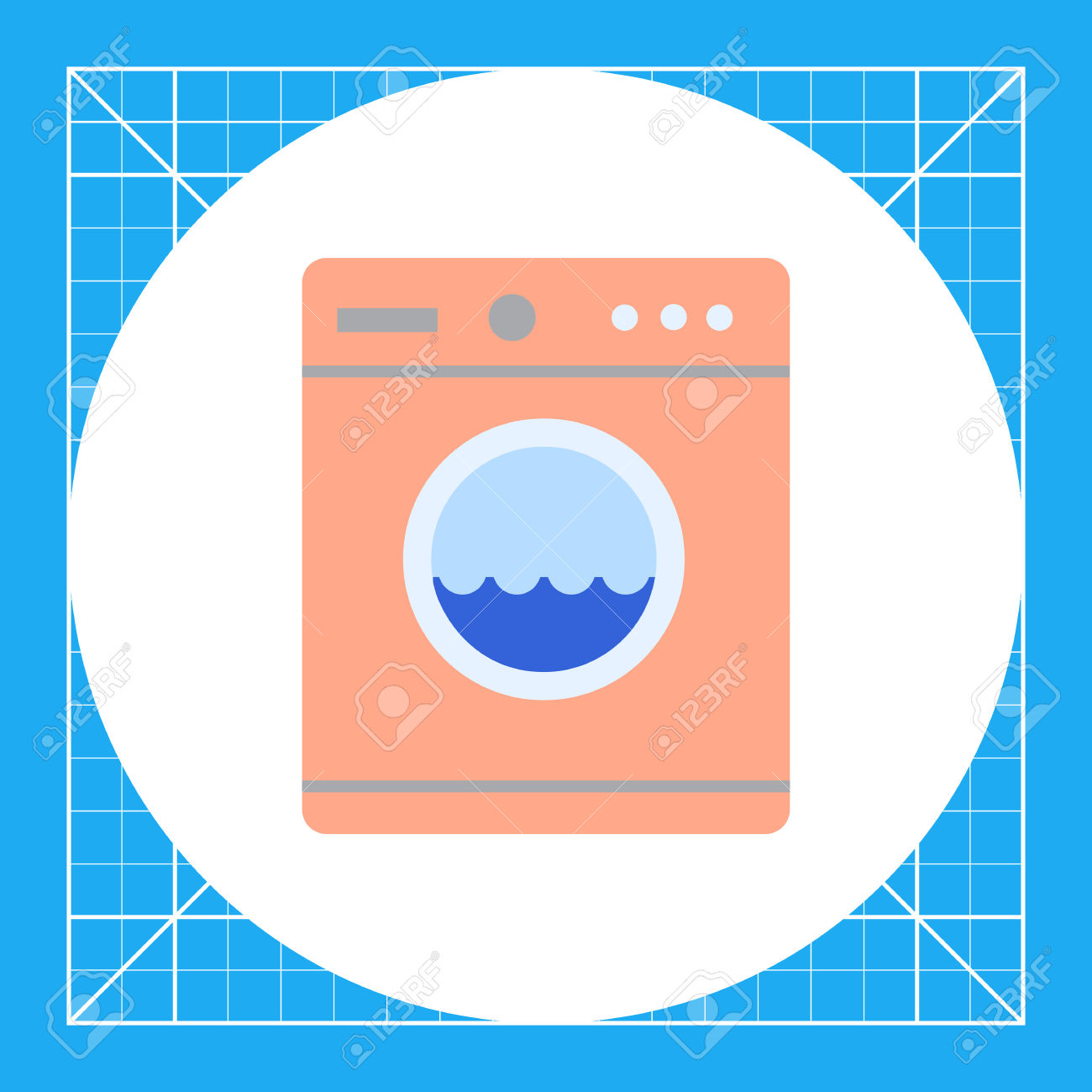 Icon Of Pink Washing Machine With Water In Drum Royalty Free.