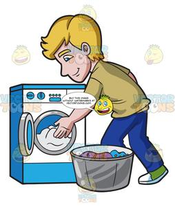 A Man Places The Clothes In The Washing Machine.
