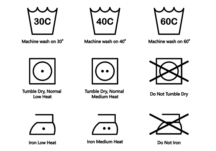 Washing Symbols Vector.