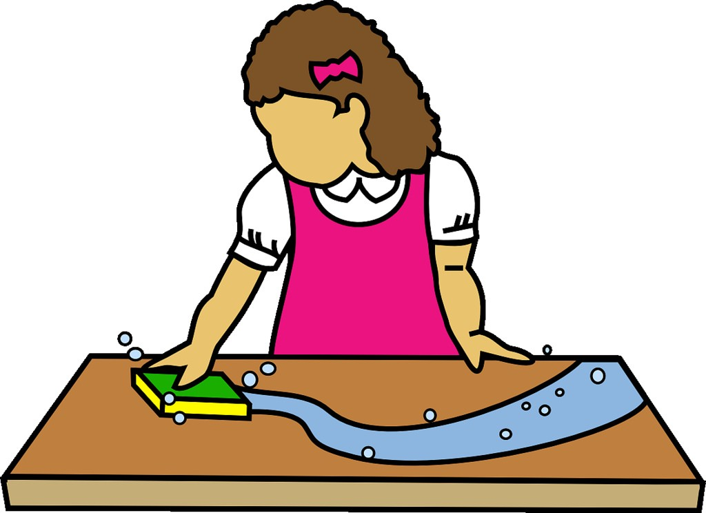 Kids cleaning the table clipart.