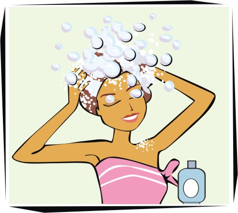 Animated Washing Your Hair Clipart.