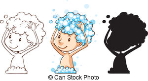 Wash Hair Clipart.