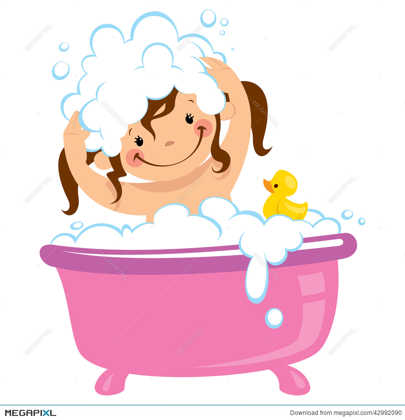Baby Kid Girl Bathing In Bath Tub And Washing Hair.