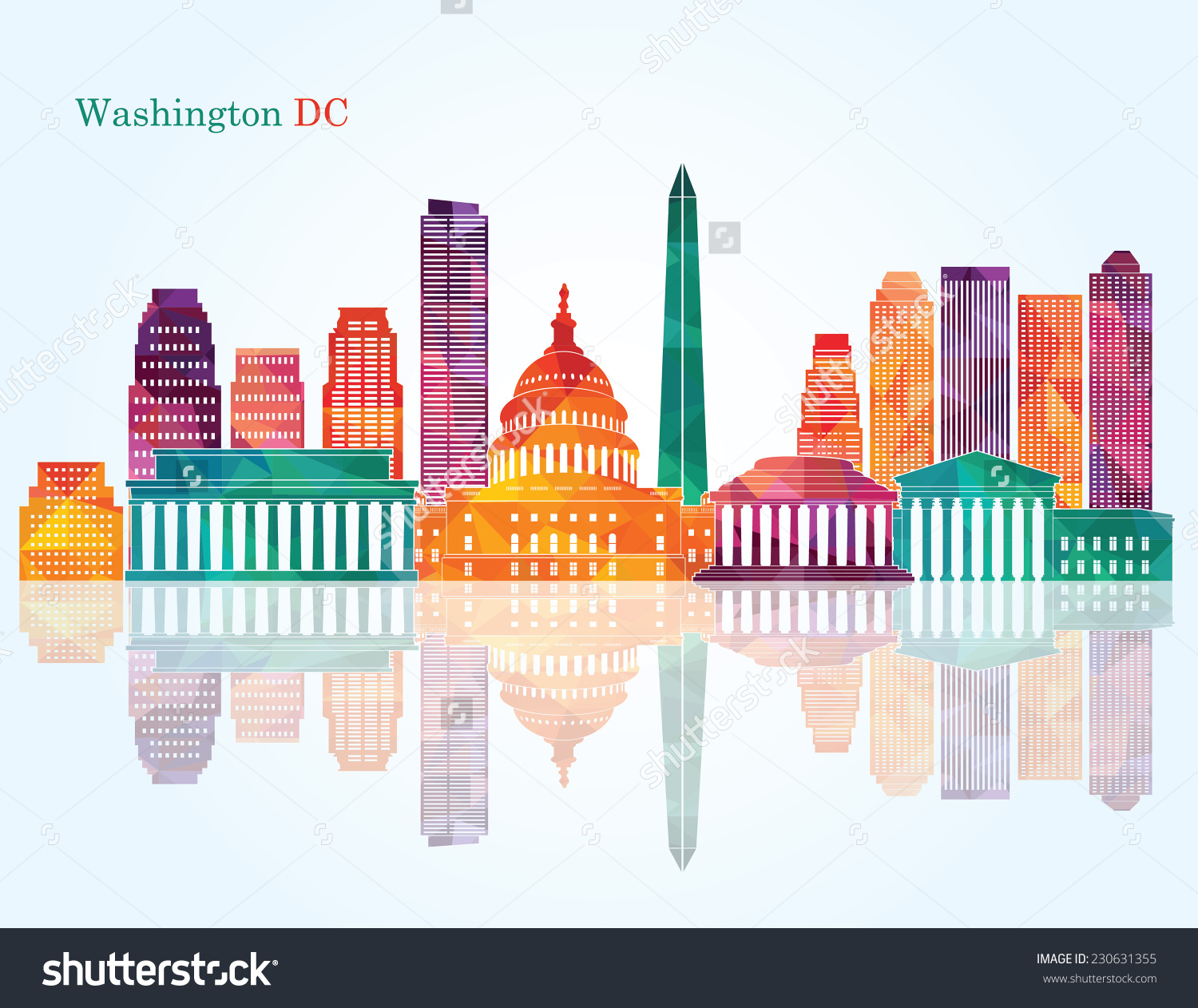 Washington Dc Skyline Vector Illustration Stock Vector 230631355.