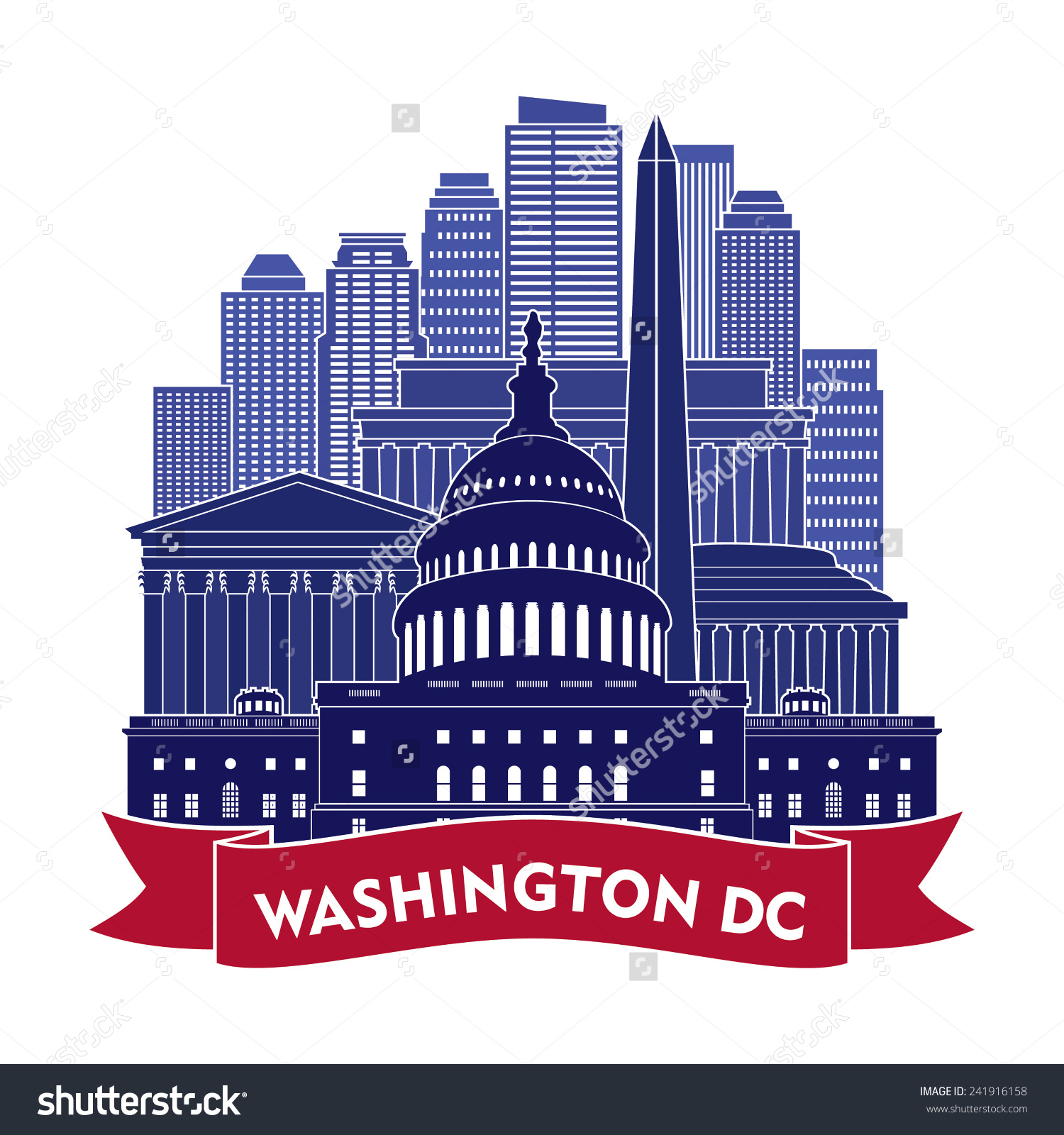 Washington Dc Skyline Vector Illustration Stock Vector 241916158.