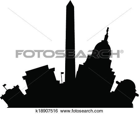 Clip Art of Cartoon Washington D.C. k18907516.