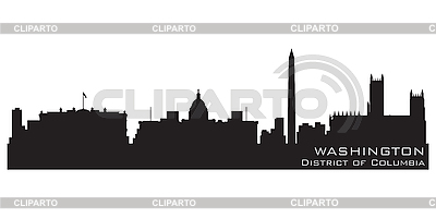 Washington dc skyline silhouette clipart.