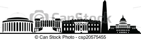 Clipart Vector of washington dc city skyline black and white with.