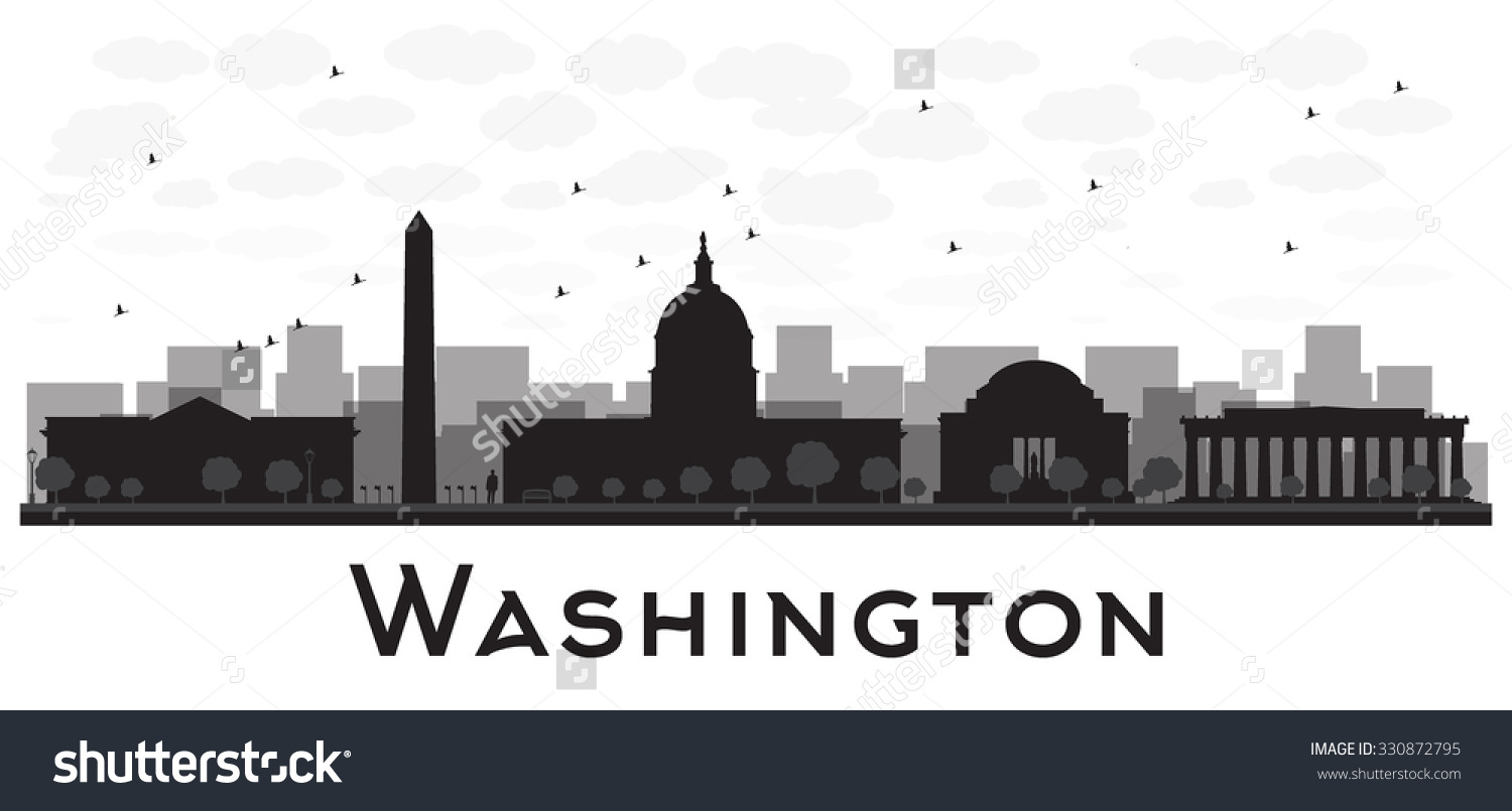 Washington Dc City Skyline Black White Stock Vector 330872795.