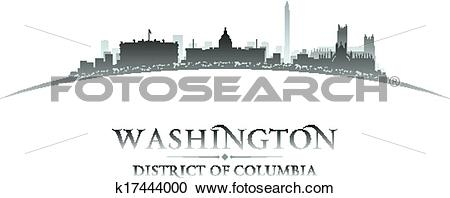 Clipart of Washington DC city skyline silhouette white background.