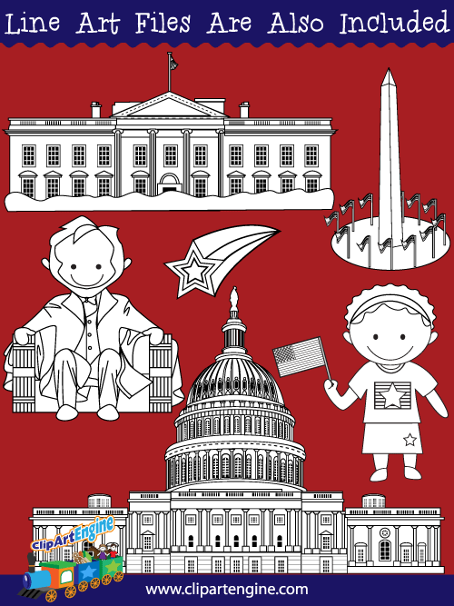 Washington D.C. Clip Art Collection for Personal and Commercial Use.