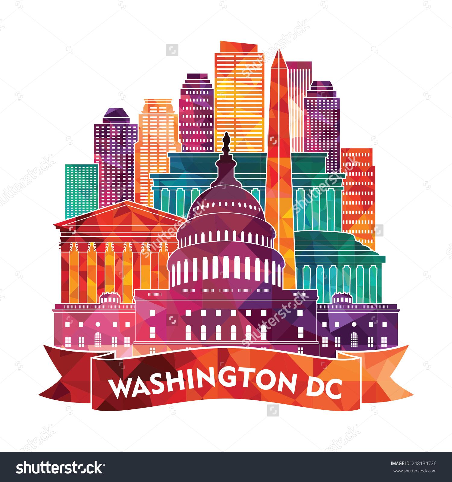 Washington dc skyline clipart.