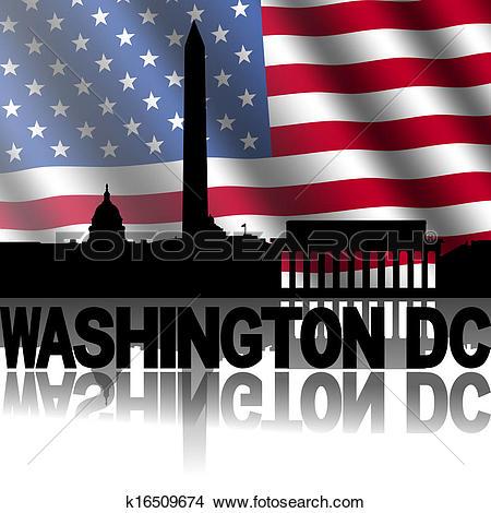 Clip Art of Washington DC Skyline reflected k4002482.