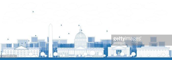 Outline Washington DC city skyline. Clipart Image.