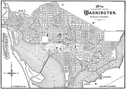 Historic 1884 Washington DC Map premium clipart.