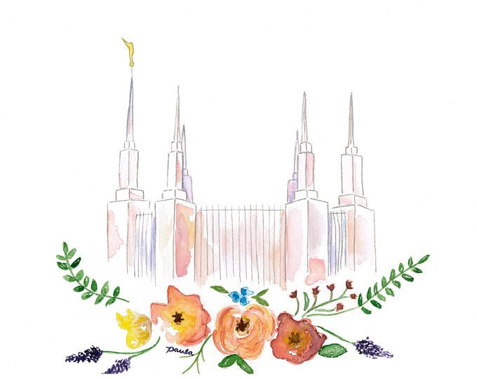 LDS Washington DC Temple Watercolor.