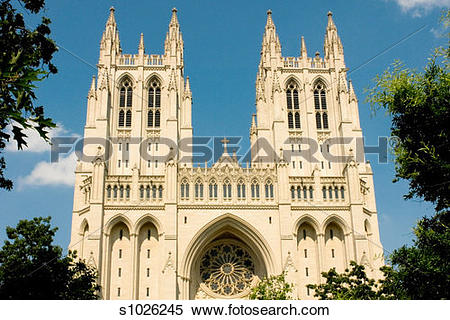 Stock Image of Facade of a cathedral, Washington National.