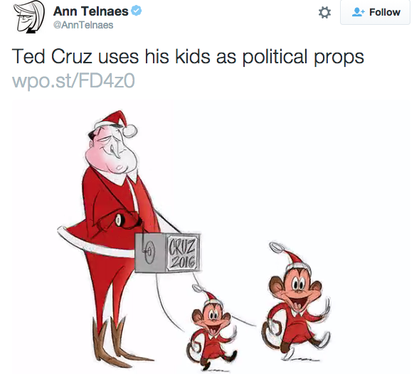Washington Post depicts Ted Cruz's children as monkeys. And won't.